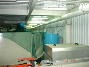 УЗВ производительностью 10 тонн осетра в год. Таких УЗВ в помещении 500 м2 установлено 2 шт.